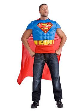 Mens Superman Adult Muscle Chest Top Co