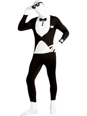 Mens Tuxedo Skin Suit Adult Costume