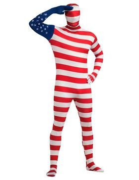 Mens Usa Flag Skin Suit Adult Costume