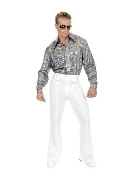 Mens White Disco Pants