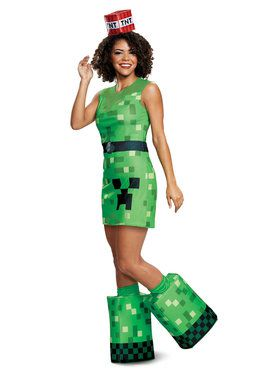 Womens Teen Creeper Minecraft Costume