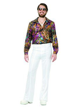 Multi Flame Disco Shirt - Plus Costume