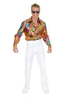 Multi Glitter Disco Shirt - Plus Costume