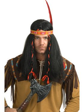 Native American Warrior Mens Wig One Size Fits Most Adults