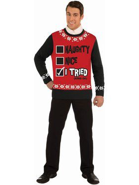 """Naughty-Nice-I Tried"" Christmas Sweater"