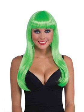 Long Neon Green Wig for Adults