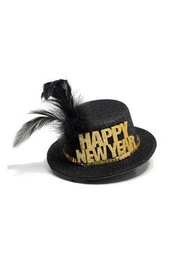 NYE Mini Black & Gold Hat with Feather