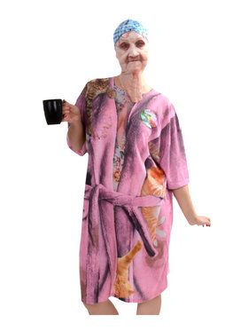 Old Lady Mask and Nightshirt Adult Costume