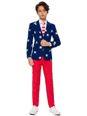 OppoSuits Stars and Stripes Teen Boy's Suit and Tie Set