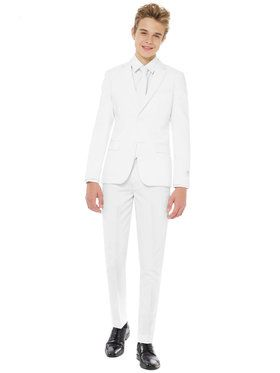 OppoSuits White Knight Teen Boy's Suit and Tie Set