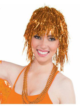 Women's Orange Tinsel Wig Accessory