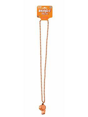 Orange Whistle w/Beaded Necklace
