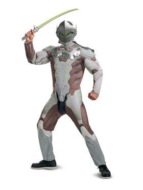 Overwatch Genji Men's Teen Muscle Costume