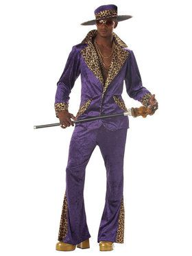 Pimp Purple Crushed Velvet Adult Costume Large (42-44)