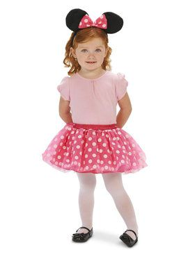 Pink and White Dot Tutu with Mouse Ear Headband Child Costume