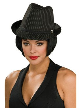 Black and White Pinstripe Fedora Hat for Adults