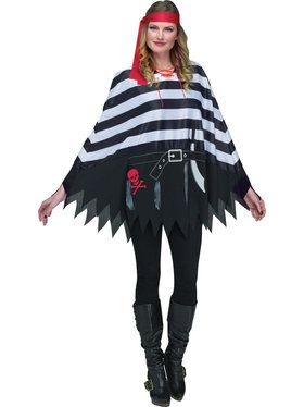 pirate poncho black and white adult costume accessory