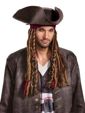 Pirates of the Caribbean 5: Captain Jack Hat Bandana Dreads - Adult One-Size