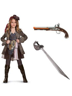 Pirates of the Caribbean Girl's Captain Jack Deluxe Costume Kit