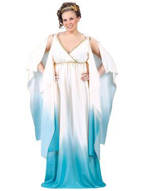 Plus Greek Goddess White & Blue Costume