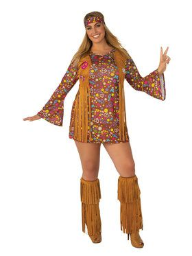Peace and Love Hippie Plus Size Costume for Women