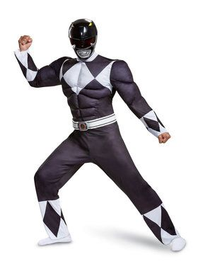 Muscle Classic Adult Mighty Morphin Black Power Ranger Costume