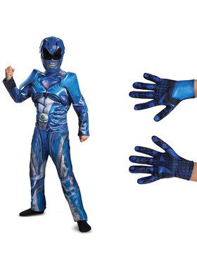 Power Rangers Movie Children Blue Ranger Muscle Costume Kit