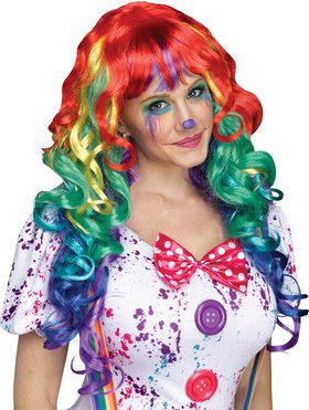 Rainbow Colored Wig With Bangs For Clown
