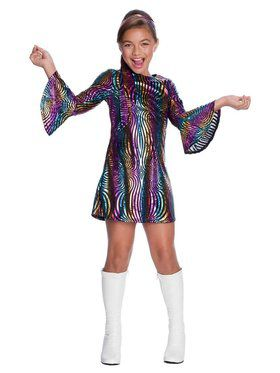 Rainbow Swirl Disco Diva Child Costume