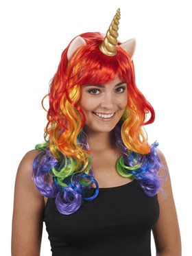 Adult Rainbow Unicorn Wig