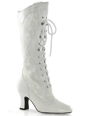 2.5 Heel Boot with Lace. Wht 9