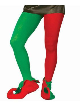 Red And Green Elf Tights Adult