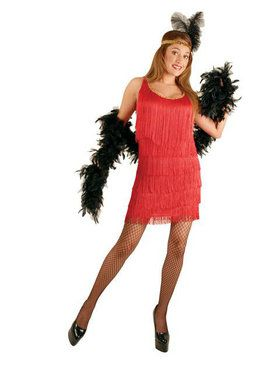 Red Fashion Flapper Adult Plus Costume