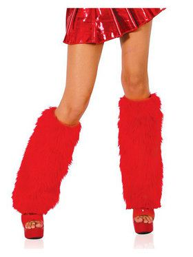 Red Furry Boot Covers