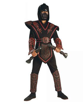 ninja skull warrior costume red for children