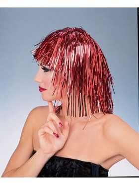 Red Tinsel Wig