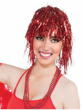 Women's Red Tinsel Wig