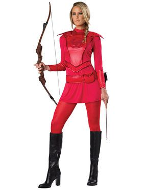 Red Warrior Huntress Adult Costume Small