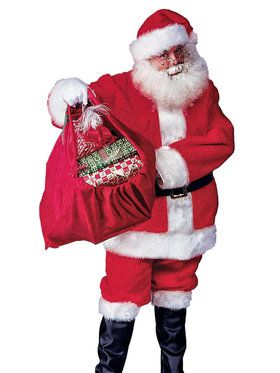 Regal Plush Adult Santa Suit with Wig & Beard