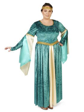 Renaissance Teal Velvet Dress Adult Plus Costume  sc 1 st  BuyCostumes.com & Plus Size