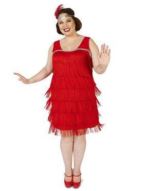 Roarin' Red Flapper Plus Adult Costume