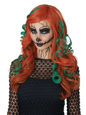 Root of All Evil Orange and Green Adult Wig