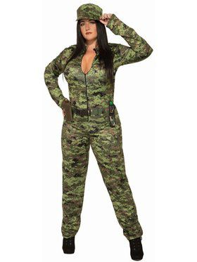 Sexy Army Jumpsuit And Hat - Plus Adult Costume