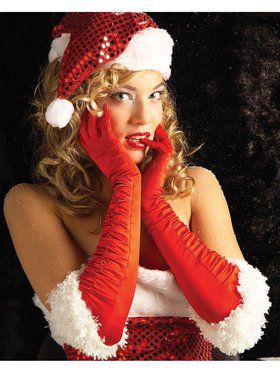 Sexy Miss Santa Satin Gloves