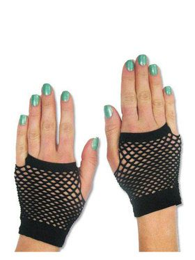 80's - Neon Fishnet Gloves - Short - Black