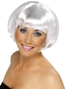 Short Bob White Wig Adult