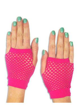 Short Fuchsia Mesh Fingerless Gloves