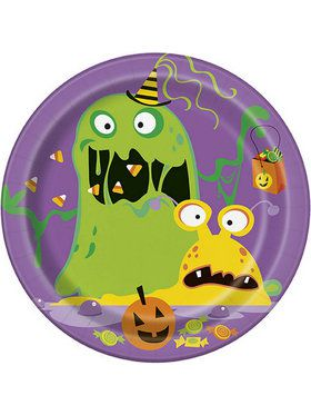 "Silly Halloween Monsters 7"" Dessert Plate (8)"