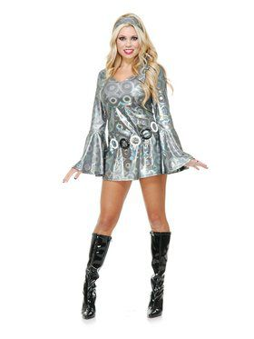 Silver Circles Disco Queen Adult Costume