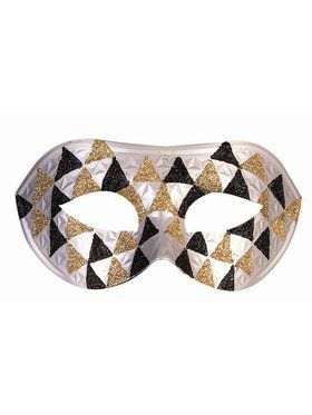 Silver Gold And Black Checkered Half Mask